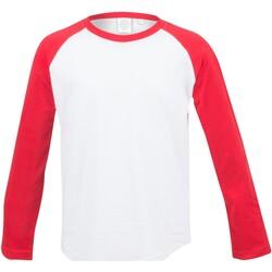 textil Niños Camisetas manga larga Skinni Fit SM271 Blanco/rojo