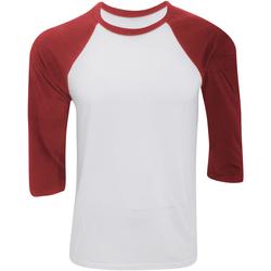 textil Hombre Camisetas manga larga Bella + Canvas CA3200 Blanco/Rojo