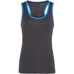 textil Mujer Camisetas sin mangas Tridri TR023 Carbón/zafiro