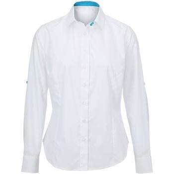 textil Mujer Camisas Alexandra AX060 Blanco/Azul Pavo Real
