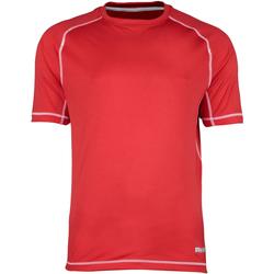textil Hombre Camisetas manga corta Rhino RH041 Rojo/ Costura blanca