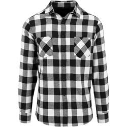 textil Hombre Camisas manga larga Build Your Brand BY031 Blanco/Negro