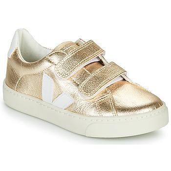 Zapatos Niña Zapatillas bajas Veja SMALL-ESPLAR-VELCRO Oro / Blanco