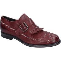 Zapatos Mujer Mocasín Moma elegantes cuero borgoña