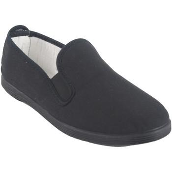 Zapatos Hombre Slip on Bienve Lona señora  102 negro Negro