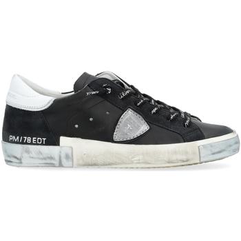 Zapatos Mujer Zapatillas bajas Philippe Model Zapatilla Paris X de piel negra con detalle plata Negro