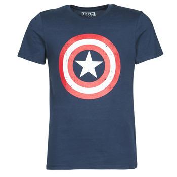 textil Hombre Camisetas manga corta Casual Attitude CAPTAIN AMERICA LOGO Marino
