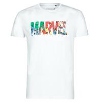 textil Hombre camisetas manga corta Casual Attitude MARVEL HERO LOGO Blanco