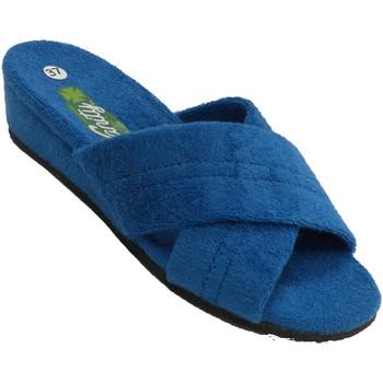 Zapatos Mujer Pantuflas Vanity Chanclas estar casa mujer dos tiras cruz azul