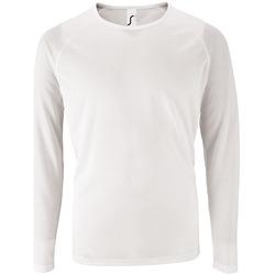 textil Hombre Camisetas manga larga Sols SPORT LSL MEN Blanco