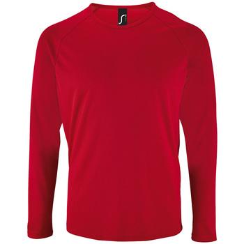 textil Hombre Camisetas manga larga Sols SPORT LSL MEN Rojo