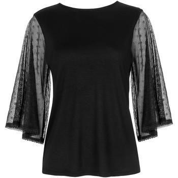 textil Mujer Tops / Blusas Lisca Camiseta de mejilla  punto blando con mangas tres cuartos Pearl Black
