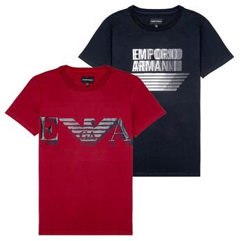 textil Niño Camisetas manga corta Emporio Armani 6H4D22-4J09Z-0353 Negro / Rojo