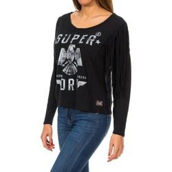 textil Mujer Jerséis Superdry Colorado Fringe L/S Tee Negro
