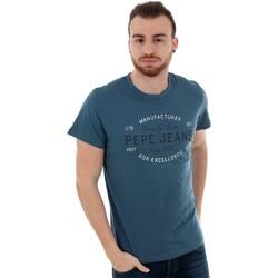 textil Hombre Camisetas manga corta Pepe jeans PM507133 EUGENE RO - 579 STERLING Azul