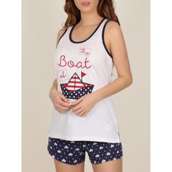 textil Mujer Pijama Admas Pantalones cortos de pijama camiseta tanque Barco papel blanco Blanco