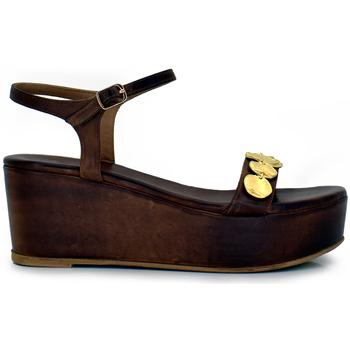 Zapatos Mujer Sandalias Exé Shoes SANDALIA CUÑA DE PIEL CON TIRA DELANTERA 735 MAJURCA Color Marrón