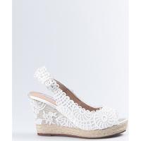 Zapatos Mujer Sandalias Mandarina Shoes Cuña Mandarina Lidia Blanco Blanco