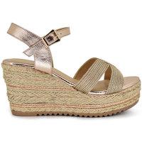 Zapatos Mujer Alpargatas Exé Shoes CUÑA DE ESPARTO CON TIRAS DORADAS 322-E2 Color Champagne