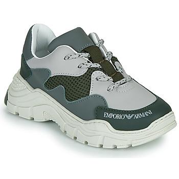 Zapatos Niños Zapatillas bajas Emporio Armani XYX008-XOI34 Verde / Gris