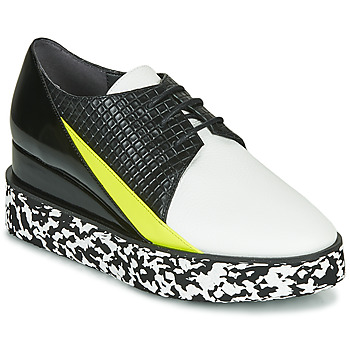 Zapatos Mujer Derbie United nude SPARK DERBY Negro / Blanco / Amarillo