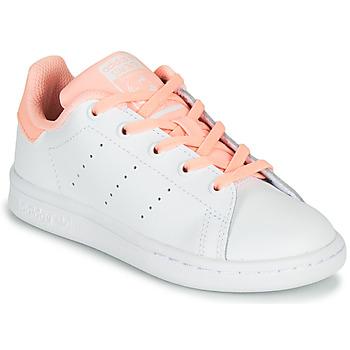 Zapatos Niña Zapatillas bajas adidas Originals STAN SMITH C Blanco / Rosa