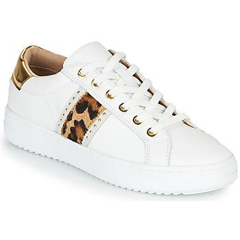Zapatos Mujer Zapatillas bajas Geox PONTOISE Blanco / Leopardo