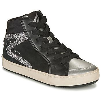 Zapatos Niña Zapatillas altas Geox KALISPERA Negro / Plateado