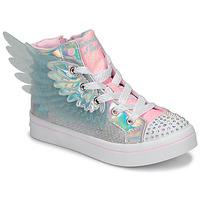 Zapatos Niña Zapatillas altas Skechers TWI-LITES 2.0 Plata / Rosa / Led