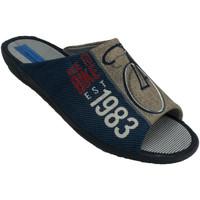 Zapatos Hombre Pantuflas Made In Spain 1940 Chanclas hombre estar en casa abiertas p azul