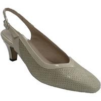 Zapatos Mujer Zapatos de tacón Trebede Zapatos mujer abierto detrás charol y an beige
