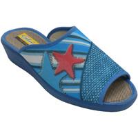 Zapatos Mujer Pantuflas Aguas Nuevas Chanclas mujer abiertas punta talón estr azul
