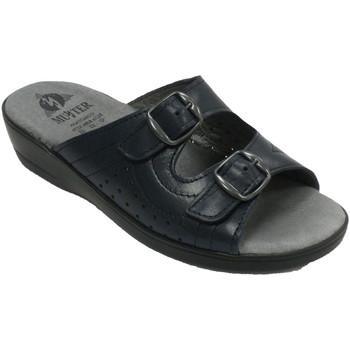 Zapatos Mujer Zuecos (Mules) Muñoz Y Tercero Chanclas mujer dos hebillas abiertas pun azul