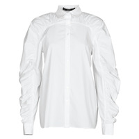 textil Mujer Camisas Karl Lagerfeld POPLIN BLOUSE W/ GATHERING Blanco