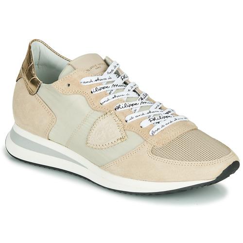Zapatos Mujer Zapatillas bajas Philippe Model TROPEZ X MONDIAL CROCO Beige