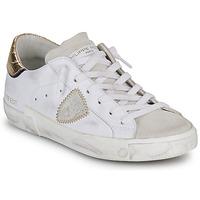 Zapatos Mujer Zapatillas bajas Philippe Model PARIS X VEAU CROCO Blanco / Oro