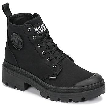 Zapatos Mujer Botas de caña baja Palladium PALLABASE TWILL Negro