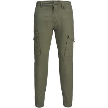 textil Hombre Pantalón cargo Jack & Jones 12172186 JJIPAUL JJFLAKE LINEN AKM 982 NOOS OLIVE NIGHT Verde