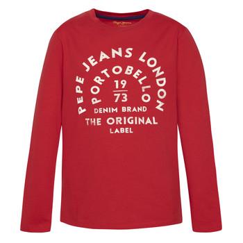 textil Niño Camisetas manga larga Pepe jeans ANTONI Rojo
