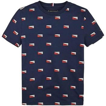 textil Niño camisetas manga corta Tommy Hilfiger Kids PRINTED SHIELDS TEE Azul