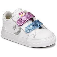 Zapatos Niña Zapatillas bajas Converse STAR PLAYER 2V GLITTER TEXTILE OX Blanco / Azul / Rosa