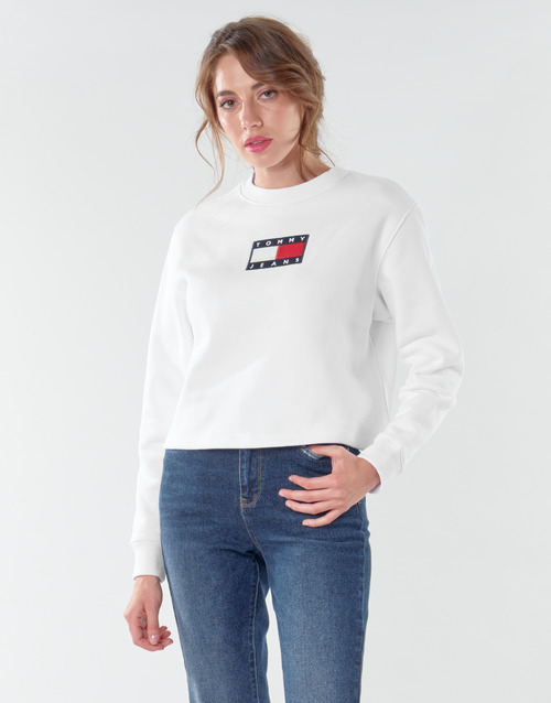 textil Mujer Sudaderas Tommy Jeans TJW TOMMY FLAG CREW Blanco