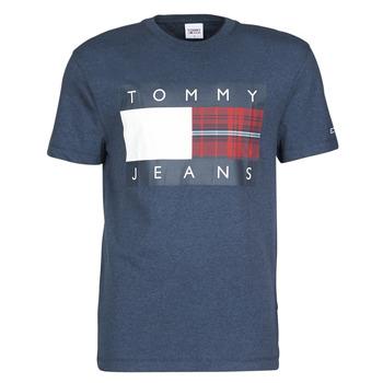 textil Hombre Camisetas manga corta Tommy Jeans TJM PLAID CENTRE FLAG TEE Marino