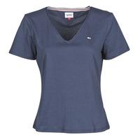 textil Mujer Camisetas manga corta Tommy Jeans TJW SLIM JERSEY V NECK Marino