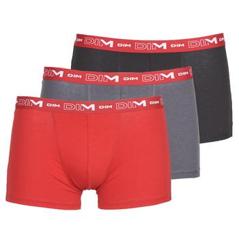 Ropa interior Hombre Boxer DIM COTON STRETCH Gris / Rojo / Negro