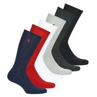 Accesorios Hombre Calcetines Polo Ralph Lauren ASX110 6 PACK COTTON Negro / Rojo / Marino / Gris / Gris / Blanco