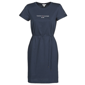 textil Mujer Vestidos cortos Tommy Hilfiger TH ESS HILFIGER REG C-NK DRS SS Marino