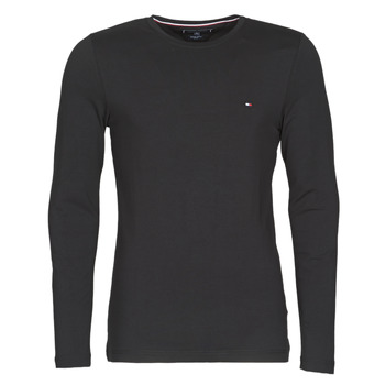 textil Hombre Camisetas manga larga Tommy Hilfiger STRETCH SLIM FIT LONG SLEEVE TEE Negro