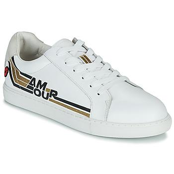 Zapatos Mujer Zapatillas bajas Bons baisers de Paname SIMONE AMOUR RETRO Blanco / Oro