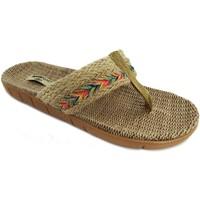 Zapatos Mujer Chanclas Brasileras Tren Hippie Beige